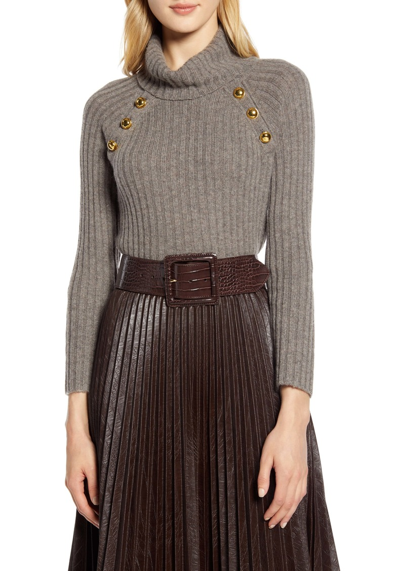 Halogen® x Atlantic-Pacific Button Detail Turtleneck Sweater (Nordstrom Exclusive)