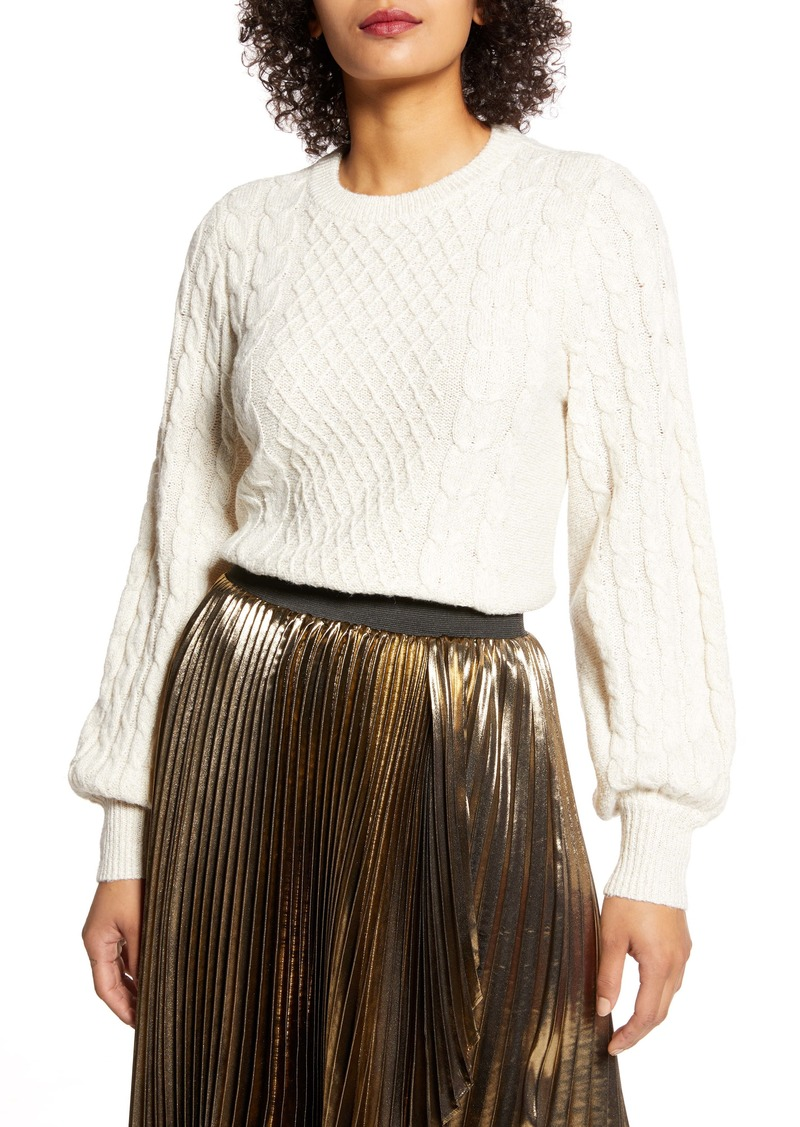Halogen® x Atlantic-Pacific Cable Knit Sweater (Nordstrom Exclusive)
