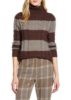 Halogen® x Atlantic-Pacific Cable Knit Turtleneck Sweater (Nordstrom Exclusive)
