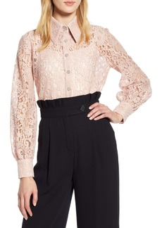 Halogen® x Atlantic-Pacific Collared Lace Top (Nordstrom Exclusive)