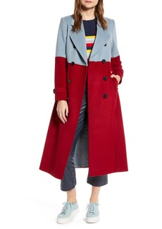Halogen® x Atlantic-Pacific Colorblock Wool Blend Coat (Nordstrom Exclusive)