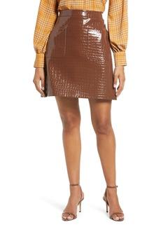 Halogen® x Atlantic-Pacific Croc Embossed Faux Leather Miniskirt