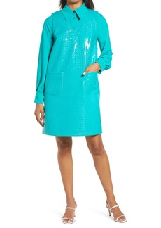 Halogen® x Atlantic-Pacific Croc Embossed Faux Leather Shift Dress