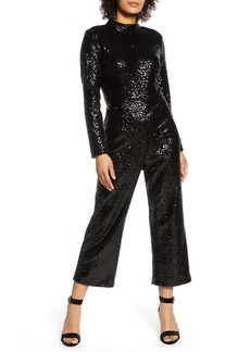 Halogen® x Atlantic-Pacific Crop Sequin Jumpsuit (Nordstrom Exclusive)