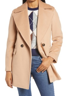 Halogen® x Atlantic-Pacific Double Breasted Wool Blend Coat