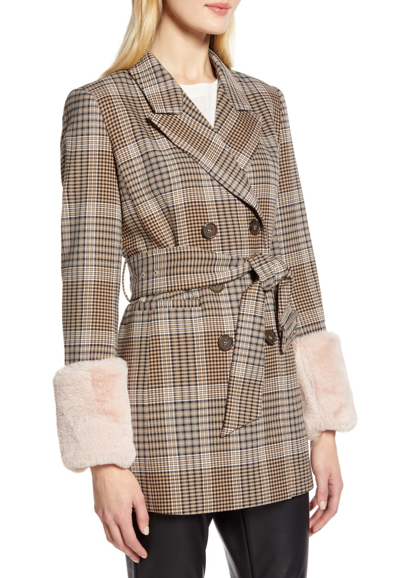 Halogen® x Atlantic-Pacific Faux Fur Cuff Plaid Coat (Nordstrom Exclusive)