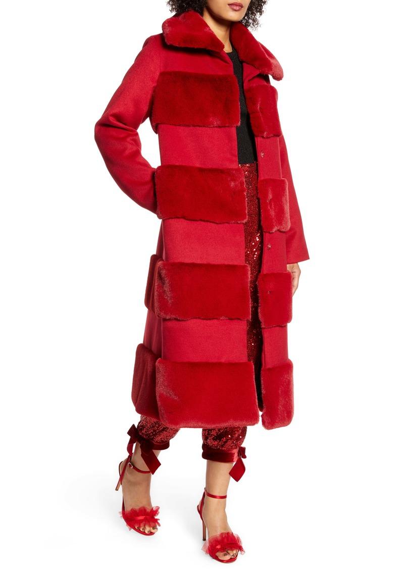Halogen® x Atlantic-Pacific Faux Fur Tiered Stripe Long Coat (Nordstrom Exclusive)