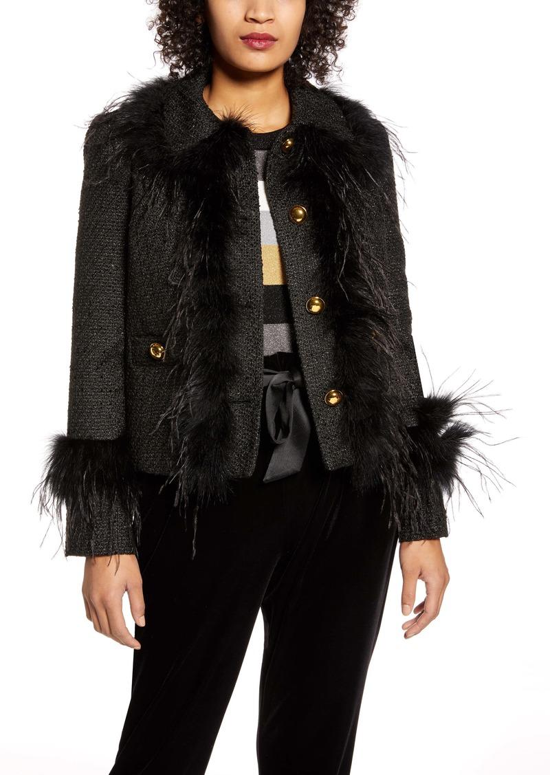 Halogen® x Atlantic-Pacific Feather Trim Tweed Jacket (Nordstrom Exclusive)