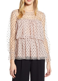 Halogen® x Atlantic-Pacific Flocked Tiered Tulle Top (Nordstrom Exclusive)