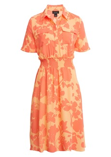 Halogen® x Atlantic-Pacific Floral Smocked Utility Dress