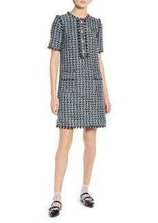 Halogen® x Atlantic-Pacific Fringe Tweed Dress