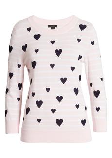 Halogen® x Atlantic-Pacific Heart Flocked Stripe Sweater