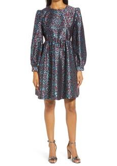 Halogen® x Atlantic-Pacific Leopard Jacquard Long Sleeve Dress