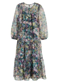 Halogen® x Atlantic-Pacific Long Sleeve Floral Sheer Tiered Maxi Dress