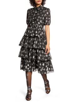 Halogen® x Atlantic-Pacific Metallic Star Chiffon Dress (Nordstrom Exclusive)