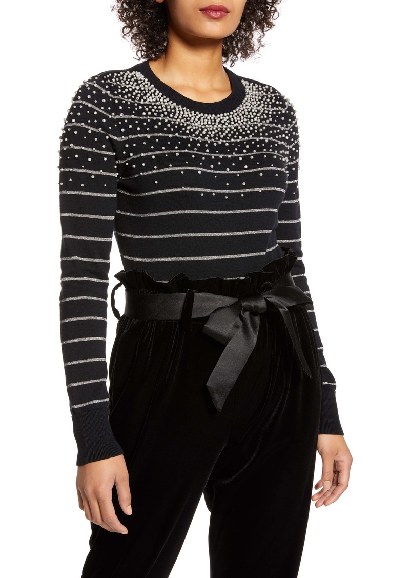 Halogen® x Atlantic-Pacific Pearl Metallic Stripe Sweater (Nordstrom Exclusive)