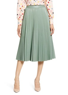 Halogen® x Atlantic-Pacific Pleated Croc Faux Leather Midi Skirt (Nordstrom Exclusive)