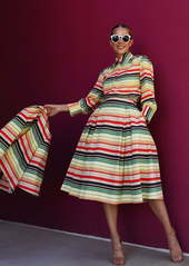 Halogen® x Atlantic-Pacific Print Full Midi Skirt