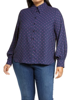Halogen® x Atlantic-Pacific Puff Sleeve Button-Up Shirt (Plus Size)