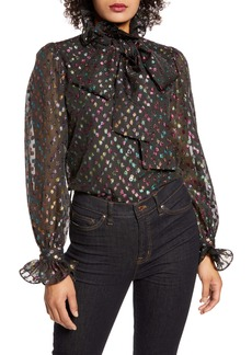 Halogen® x Atlantic-Pacific Ruffle Bow Metallic Fil Coupé Blouse (Nordstrom Exclusive)