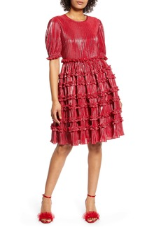 Halogen® x Atlantic-Pacific Ruffle Plissé Dress (Nordstrom Exclusive)