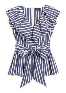 Halogen® x Atlantic-Pacific Ruffle Stripe Tie Top