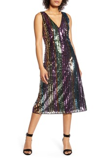 Halogen® x Atlantic-Pacific Sequin Stripe Shift Dress (Nordstrom Exclusive)