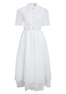Halogen® x Atlantic-Pacific Sheer Floral Bow Midi Dress