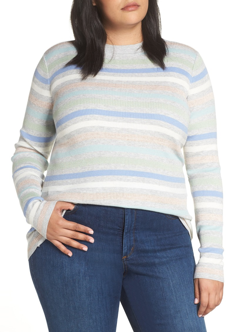 7b9b46a32a8 Halogen® x Atlantic-Pacific Shimmer Stripe Sweater (Plus Size) (Nordstrom  Exclusive