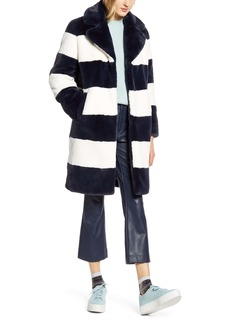 Halogen® x Atlantic-Pacific Stripe Faux Fur Coat (Nordstrom Exclusive)