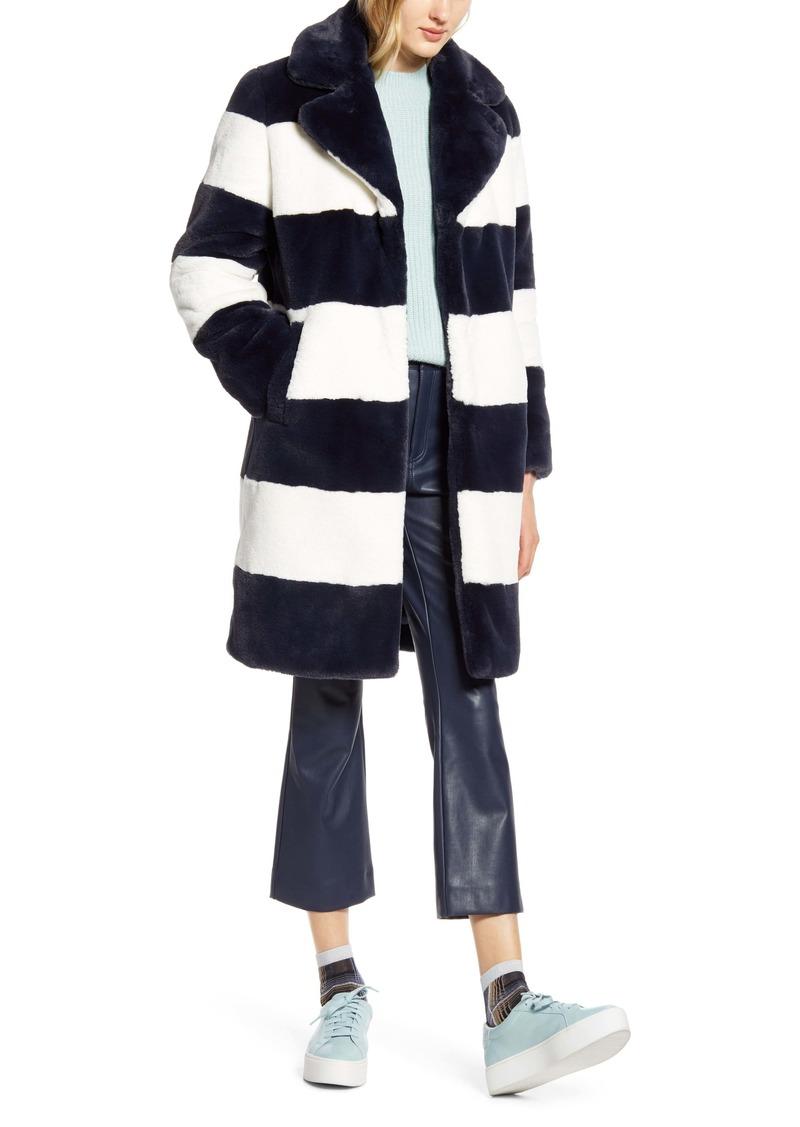 Halogen® x Atlantic-Pacific Stripe Faux Fur Coat (Nordstrom Exclusive)