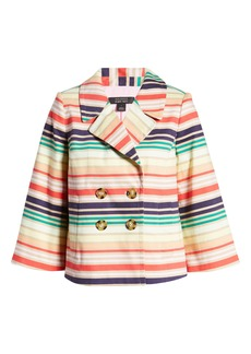 Halogen® x Atlantic-Pacific Stripe Short Trench Jacket