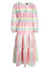 Halogen® x Atlantic-Pacific Long Sleeve Stripe Tiered Organza Dress