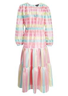 Halogen® x Atlantic-Pacific Long Sleeve Stripe Tiered Organza Dress