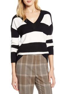 Halogen® x Atlantic-Pacific Stripe V-Neck Sweater (Nordstrom Exclusive)