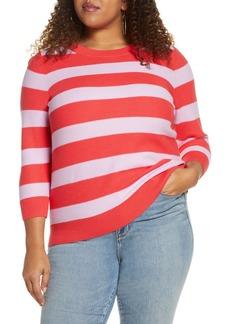 Halogen® x Atlantic-Pacific Three Quarter Sleeve Sweater (Plus Size)