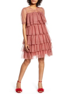 Halogen® x Atlantic-Pacific Tiered Mesh Dress (Nordstrom Exclusive)