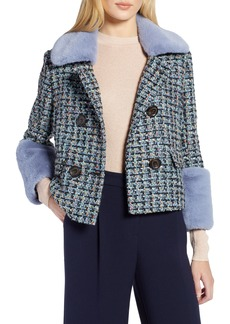 Halogen® x Atlantic-Pacific Tweed Jacket with Removable Faux Fur Trim