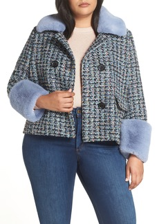 Halogen® x Atlantic-Pacific Tweed Jacket with Removable Faux Fur Trim (Plus Size)