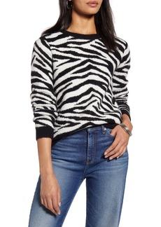 Halogen® Zebra Stripe Crewneck Pullover