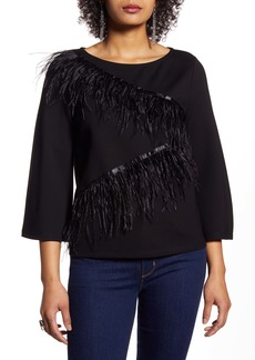 Halogen® Zigzag Feather Trim Ponte Top