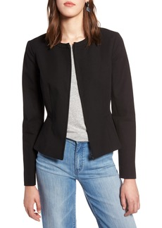 Halogen® Zip Front Peplum Jacket (Regular & Petite)