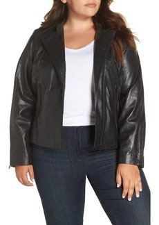 Halogen® Zip Racer Leather Jacket (Plus Size)