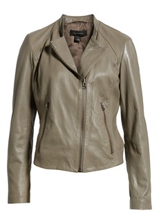 Halogen® Zip Racer Leather Jacket (Regular & Petite)