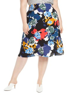 Halogen(R) A-Line Midi Skirt (Plus Size)