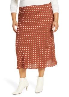 Halogen Bias Cut Midi Skirt (Plus Size)