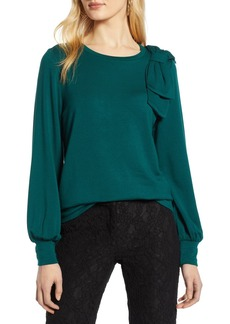 Halogen(R) Bow Trim Sweatshirt (Regular & Petite)