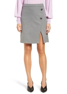 Halogen(R) Button Detail Stripe Miniskirt (Regular & Petite)