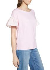 Halogen(R) Flutter Sleeve Cotton Knit Top (Regular & Petite)