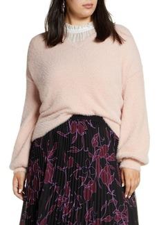 Halogen  Fuzzy V-Neck Sweater (Plus Size)